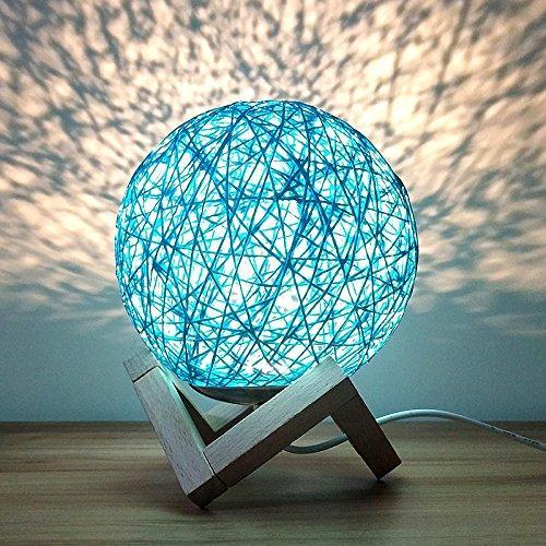 Rattan Ball Moon Light Lamp HOME DECORATIVE LAMPS smartsaker Blue