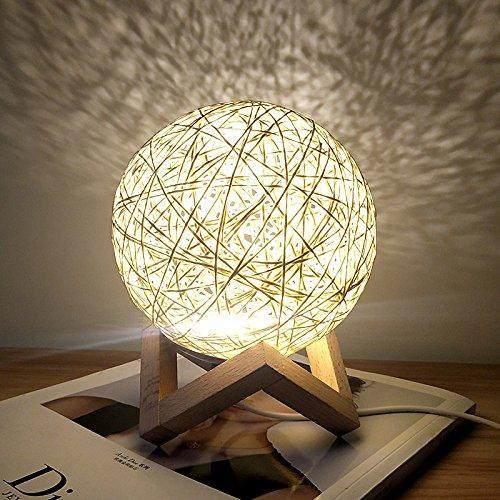 Rattan Ball Moon Light Lamp HOME DECORATIVE LAMPS smartsaker Light Yellow
