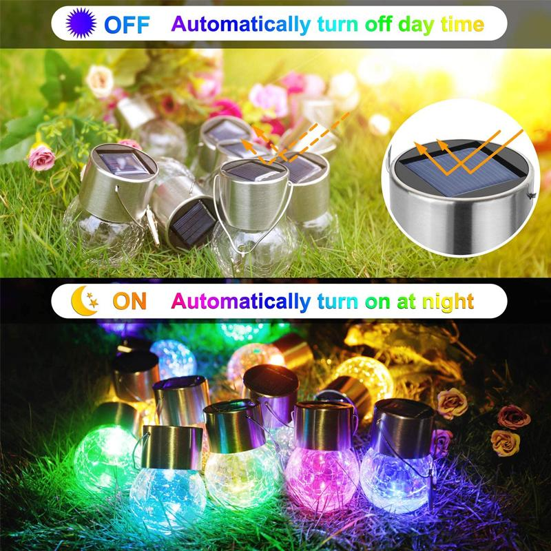 Hanging Solar Glass Ball Lights(4PCS) OUTDOOR LIGHTS Smart saker