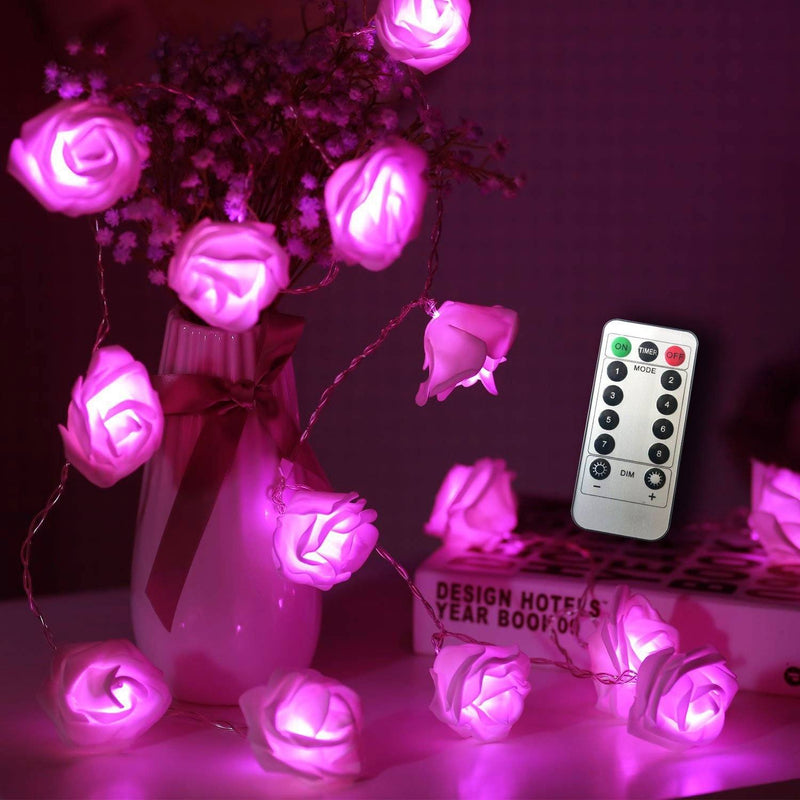 Flower Rose Fairy Light HOME DECORATIVE LAMPS smartsaker Pink 20 LED