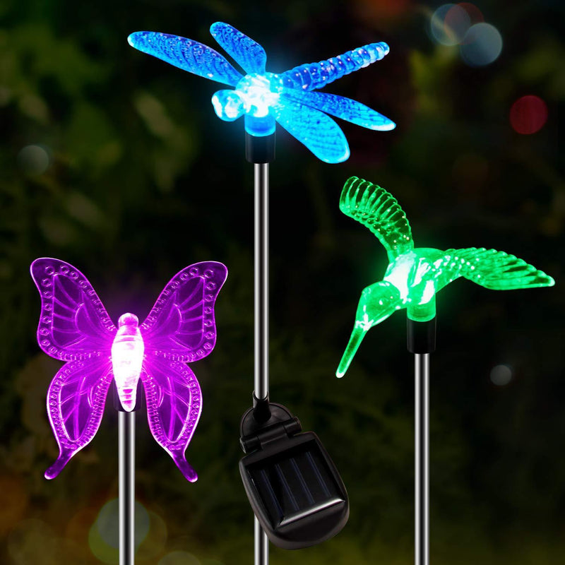 Solar-Powered LED Color Changing Light Outdoor Lights smartsaker 3 Pcs Bundle- Dragon Fly + Butterfly + Hummingbird
