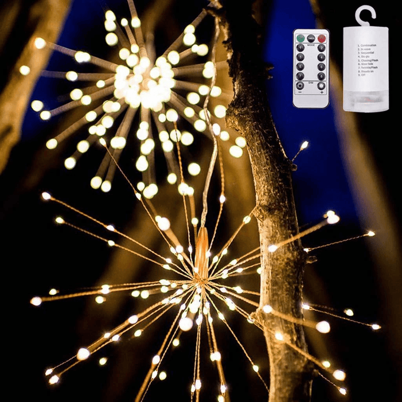 LED Copper Wire Starburst String Firework Lights, 120 brilliant LED lamp beads OUTDOOR LIGHTS smartsaker WARM-WHITE