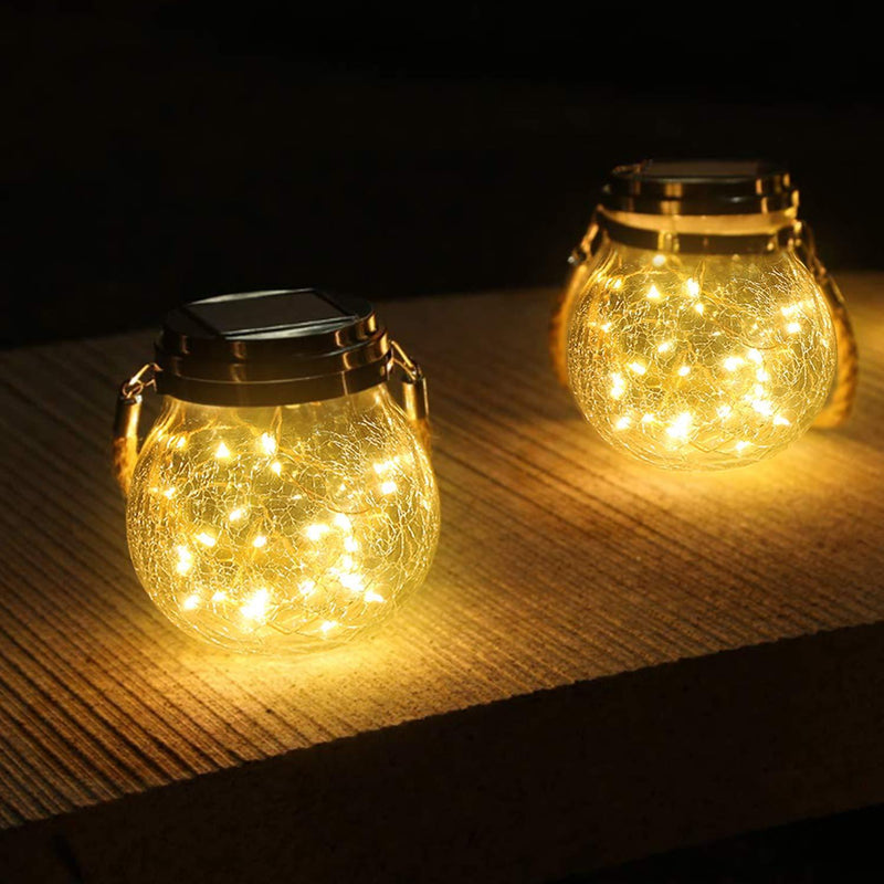 Solar-Powered Glass Jar Light OUTDOOR LIGHTS Smart saker 2pcs