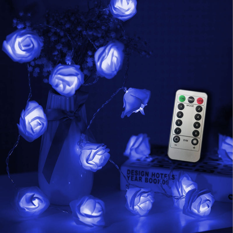 Flower Rose Fairy Light HOME DECORATIVE LAMPS smartsaker Blue 20 LED