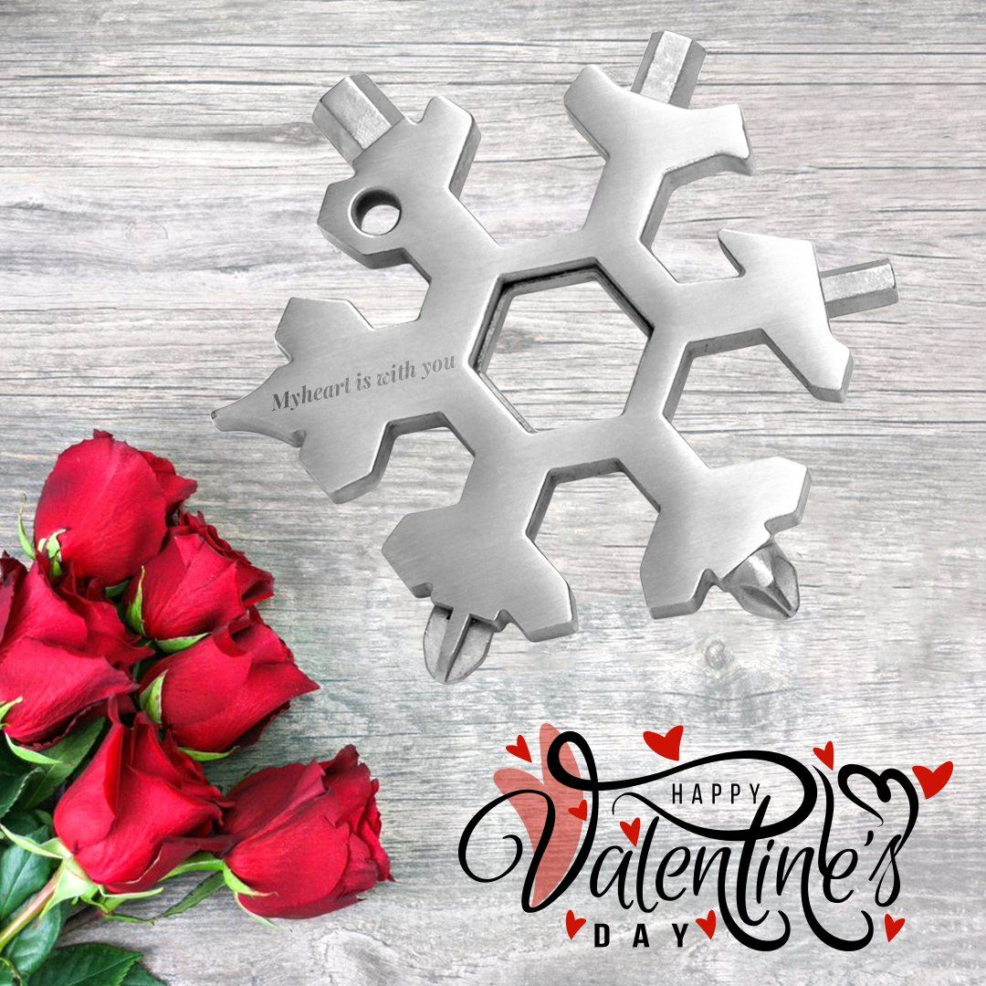 Saker ®18 in 1 Snowflake Multi-tool Valentine MULTITOOLS Smart saker 1 * silver My heart is with you