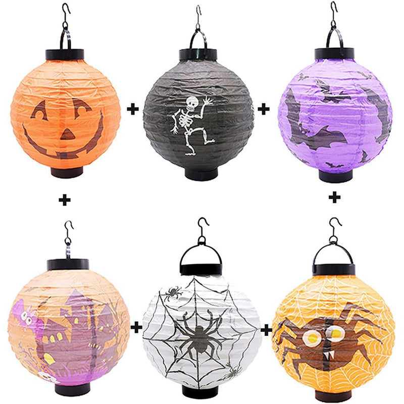 Halloween Hanging Paper Lanterns 6Pcs HOME DECORATIVE LAMPS Smart saker All patterns(6 Pcs)