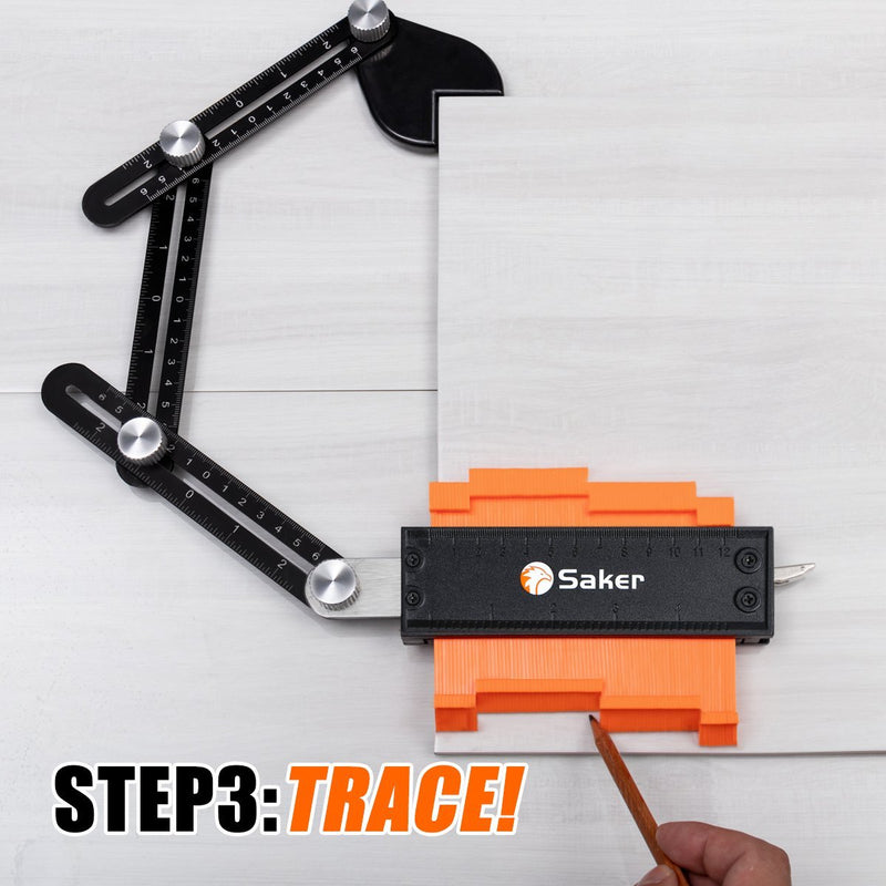 Saker® Contour Gauge Profile Tool With Opening Locator TEST & MEASURE Smart saker