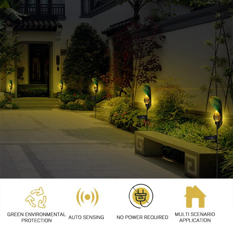 Solar Leaf Crackle Garden Decor Light OUTDOOR LIGHTS Smart saker
