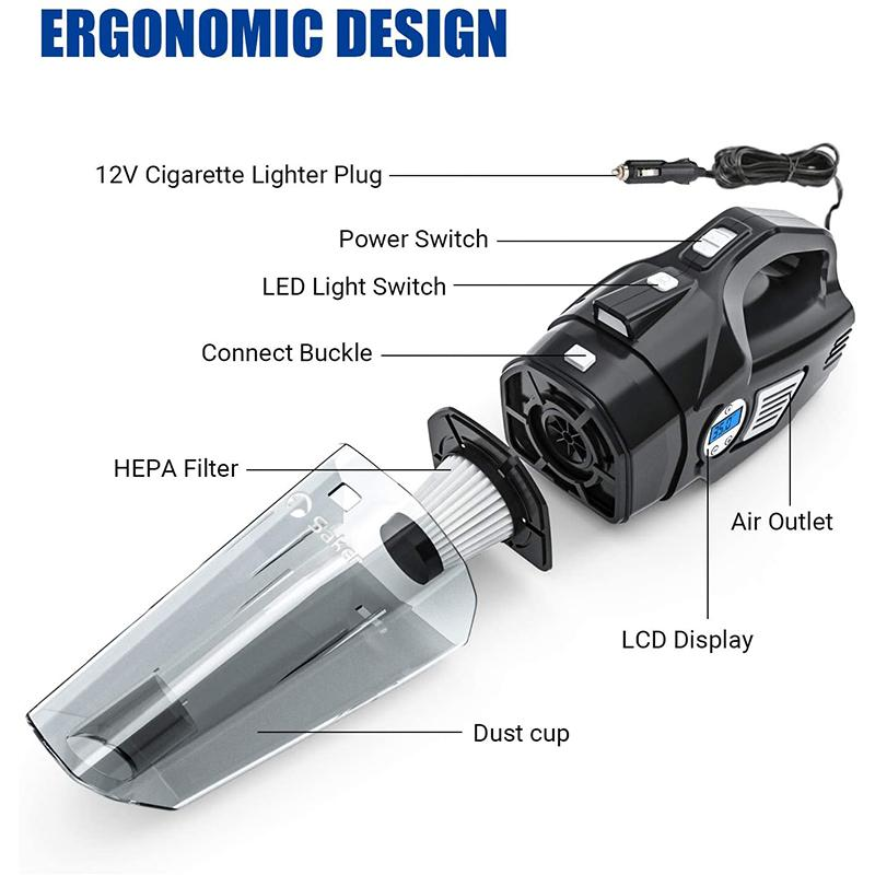 4-in-1 Portable Car Vacuum Cleaner, with LCD Display CAR PRODUCTS AND TOOLS Smart saker