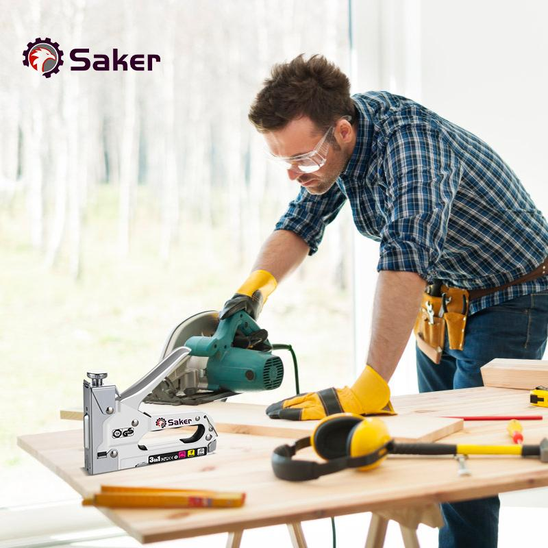 Saker 3-in-1 Manual Heavy-duty Staple Nail Gun with 3000 Staples MULTITOOLS Smart saker