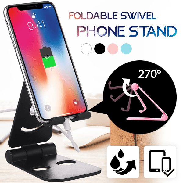Foldable Swivel Phone Stand Smart saker Black