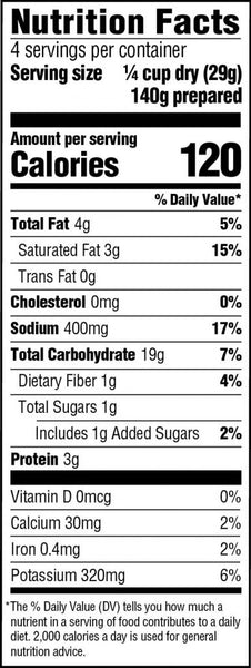 Idahoan Buttery Golden Selects Nutrition Facts