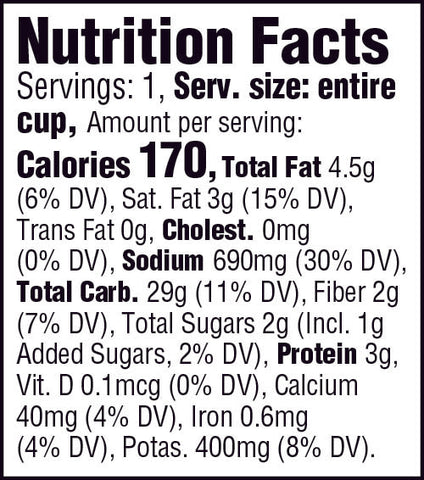 Buttery Homestyle 1.5oz Cup Nutrition Facts