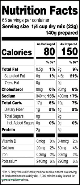 Real Premium Mashed Nutrition Facts