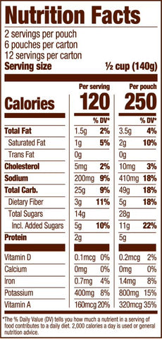 Honest Earth Sweet Potatoes Nutrition Facts