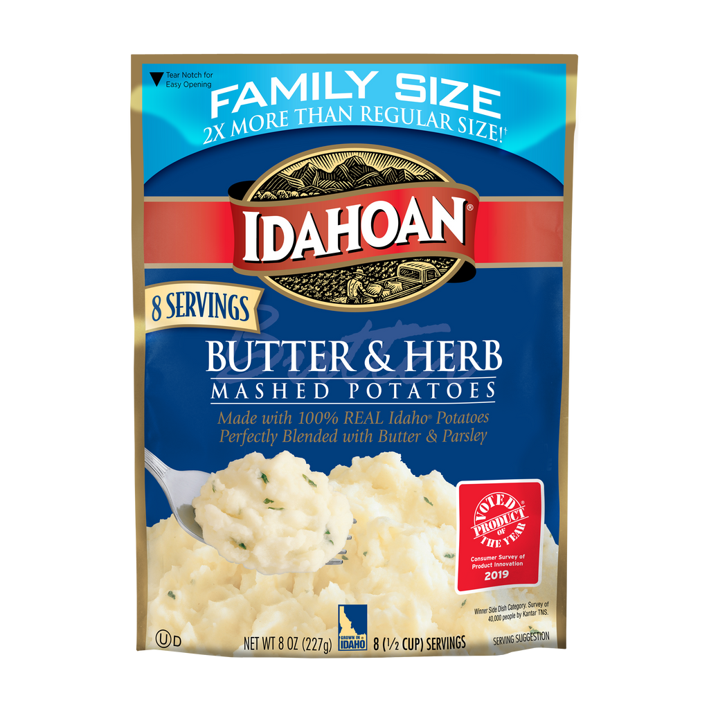 Idahoan Butter & Herb Mashed Family Size, 8 oz (Pack of 8)