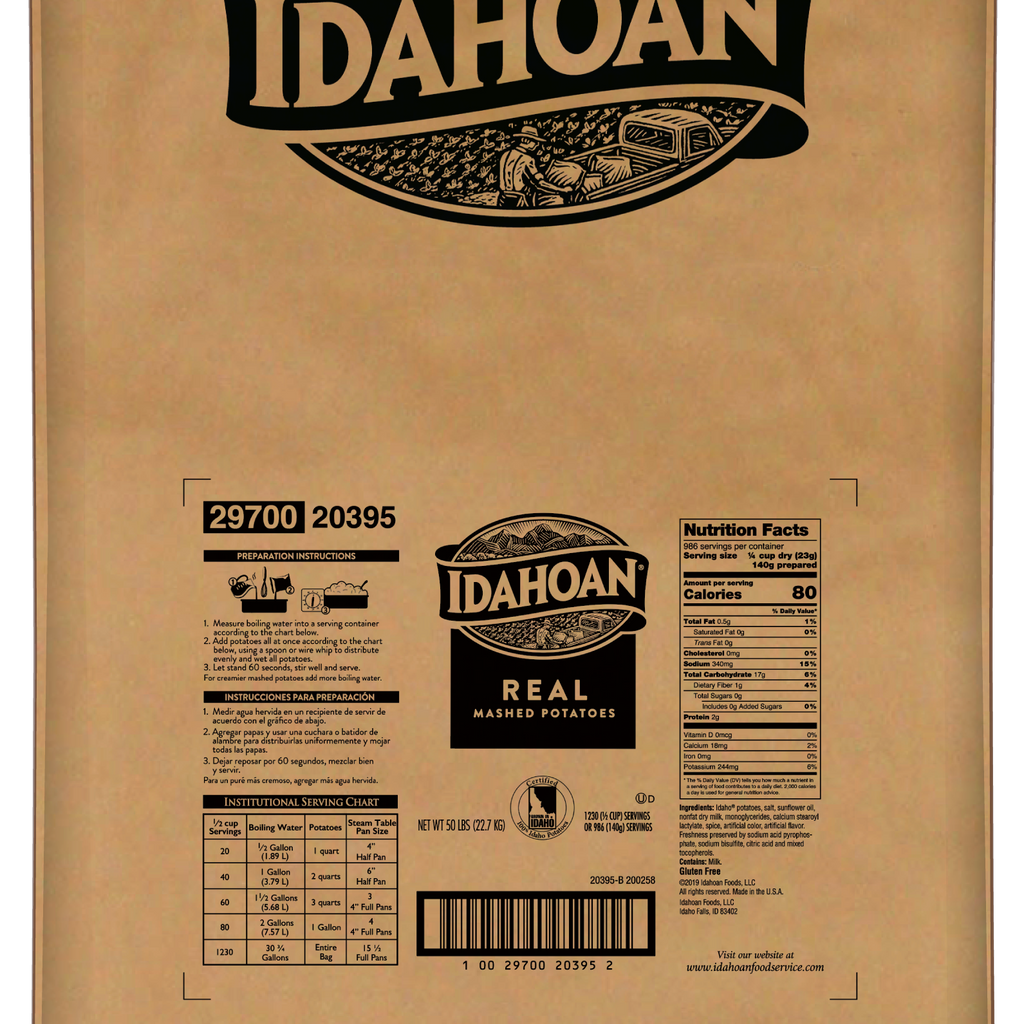Idahoan® Custom REAL Mashed Potatoes, 50 Pound Bag