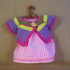 Cotton dress with handmade colourful sweater|Vestido de cuadritos rosas y sweater lila