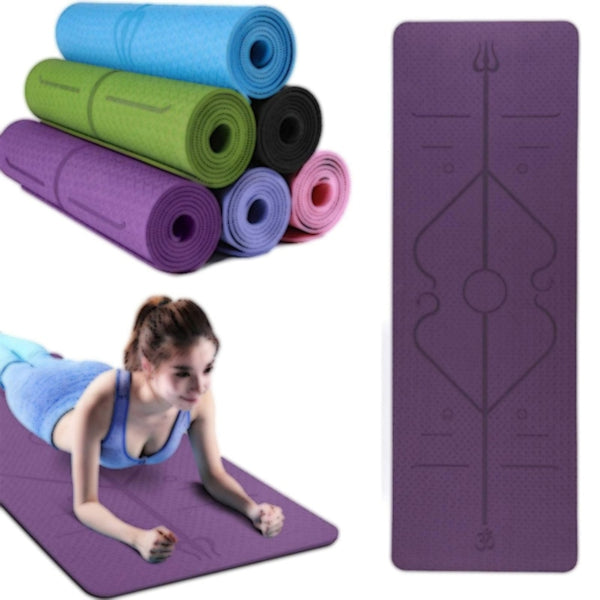 Yoga Mat With Position Line Fitness Gymnastics Mats Double Layer 6mm Non-slip Women Beginner Carpet Pads 1830X610X6mm - Amary Yoga