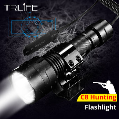 10000 Lumens Night Hunting Flashlight for Gun Linterna LED Torch Light L2 Tactical Flash Light Lamp Use 18650 Charger Gun Mount