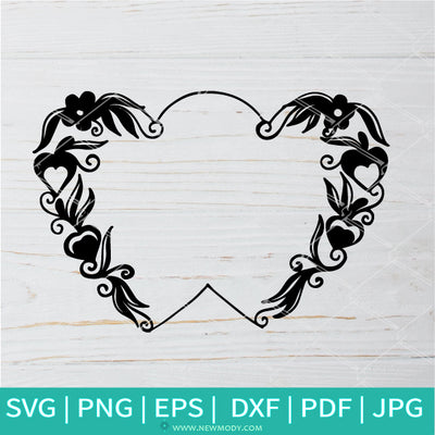 Heart Floral Picture Frame SVG - Border SVG -Decorative Border PNG - Newmody