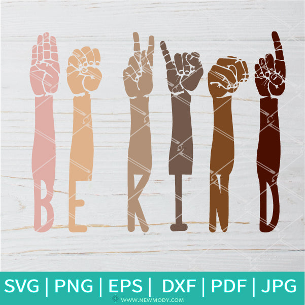 Be Kind SVG - Hands Raised Togther With Different Skin Colors SVG- Black Out tuesday SVG