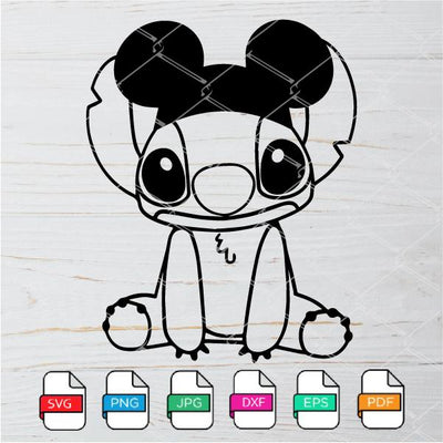 Stitch With Mickey Ears SVG - Stitch SVG  -Disney SVG Newmody
