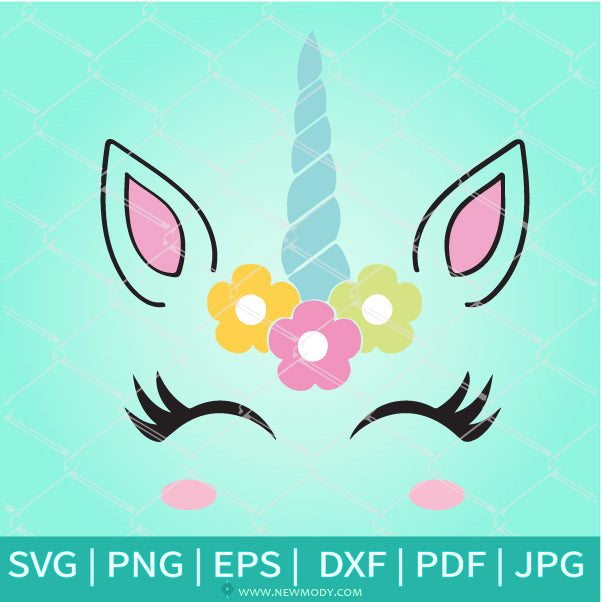 Cute Unicorn Head With Flowers SVG - Unicorn SVG