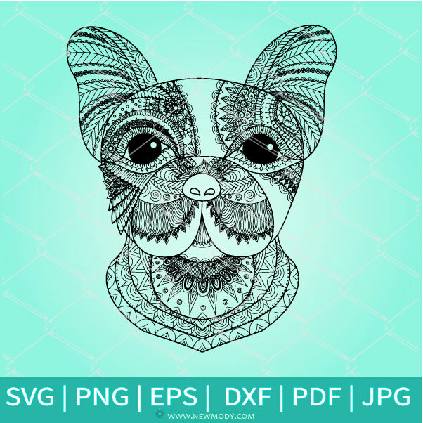 Bulldog  Face Mandala SVG - Dog Coloring Pdf jpg - Dog SVG