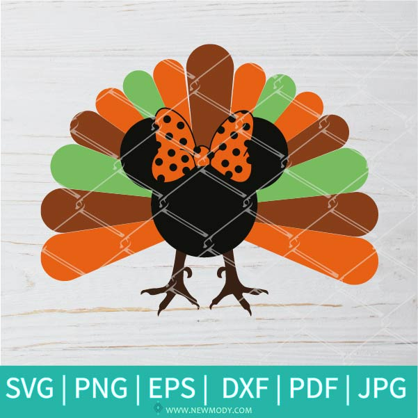 Turkey Minnie SVG - Turkey Minnie PNG - Fall SVG