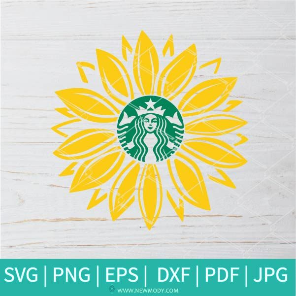Sunflower Strabucks SVG - Flower Monogram SVG - Frame SVG Monogram circle SVG