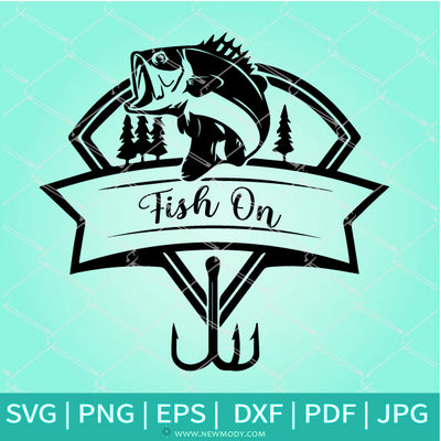 Fish On SVG - Fishing SVG - Fishing Pole SVG- Bass Fishing Printable