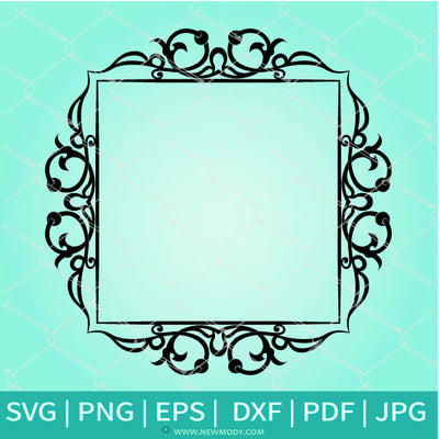 Decorative Floral Flourish Frame SVG - Picture frame SVG - Border Ornament SVG - Newmody