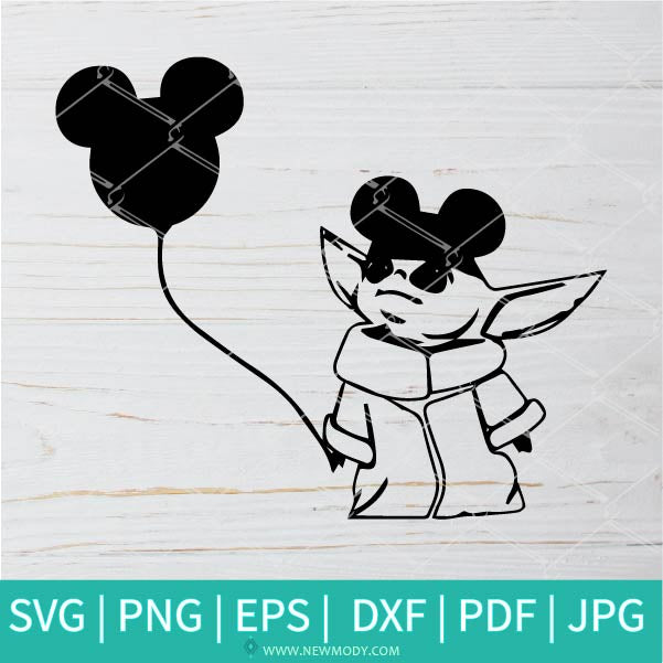 Baby Yoda SVG- The child SVG - Mickey Ears SVG - Mickey Mouse SVG - baby alien outline svg