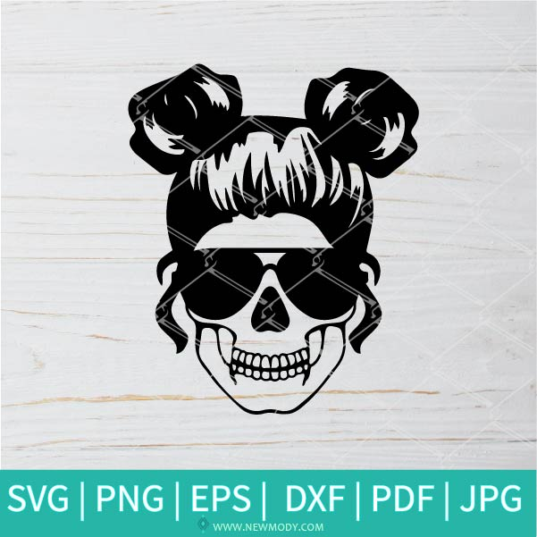 Mom Life Skull SVG - Messy bun hair SVG