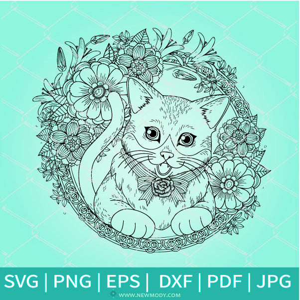 Mandala Cat Frame SVG - Cat SVG -Mandala SVG