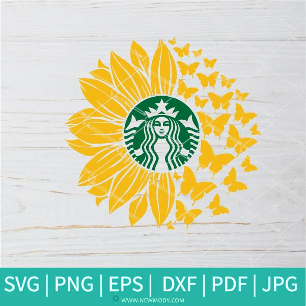 Sunflower Butterflies Strabucks SVG - Sunflower SVG - Flower Monogram SVG