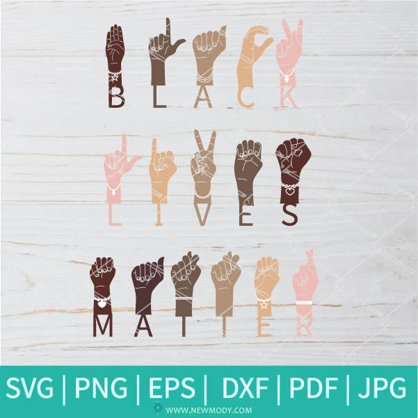 Black Lives Matter Sign Language Hand SVG - Hands Together With Different Skin Colors SVG - Stop Colorism SVG