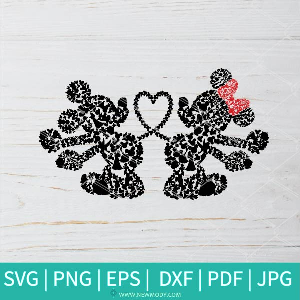 Mickey and Minnie Heart Tails  SVG - Mickey Mouse SVG -Minnie Mouse SVG