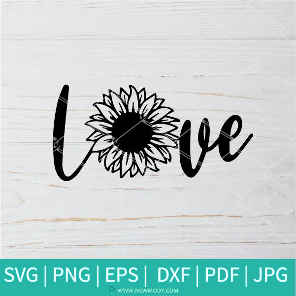 Sunflower Love SVG - Flower Monogram SVG - Frame SVG