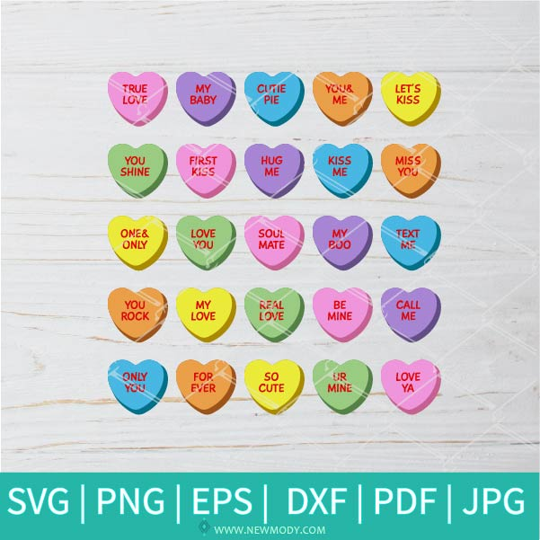 Sweethearts Candy SVG - Candy SVG -  Valentine's Day  SVG - Valentines Hearts SVG