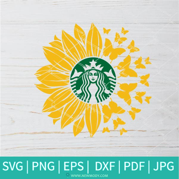 Sunflower Butterfly Strabucks SVG - Sunflower SVG - Flower Monogram SVG