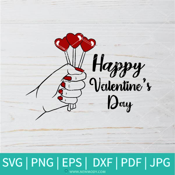 Happy Valentines Day SVG - Finger Heart SVG - Love Sign SVG -  Valentine's Day  SVG