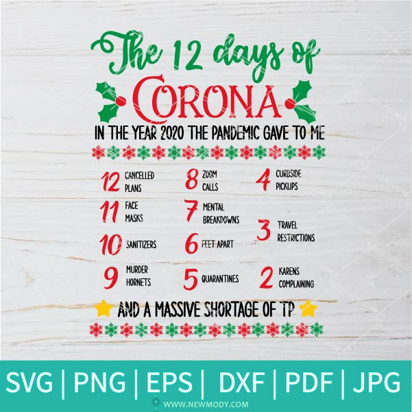 12 Days of Corona SVG  -  12 Days of COVID svg - Quarantine Svg - Corona SVG