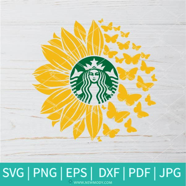 Sunflower Butterflies Starbucks SVG - Sunflower SVG - Flower Monogram SVG