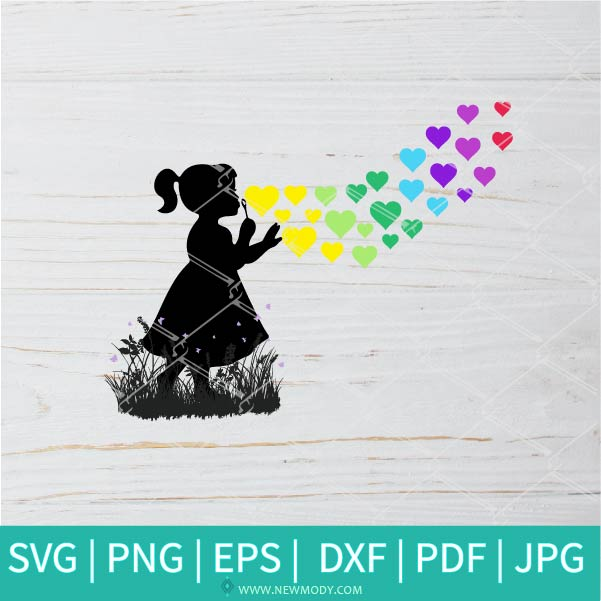 Little Girl Blowing Rainbow Hearts SVG - Window decal - Blowing bubbles