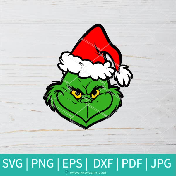 Grinch With Santa Hat SVG - Grinch SVG - Santa Hat SVG