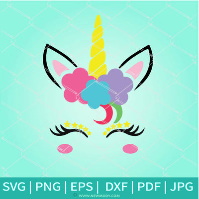 Unicorn Head With Flowers And Stars - Cute  Unicorn Face SVG  -Unicorn SVG