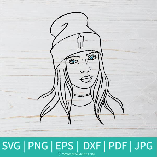 Billie Eilish With Blohsh Beanie SVG - Billie Eilish SVG - Blohsh Beanie SVG - billie eilish blohsh hat SVG