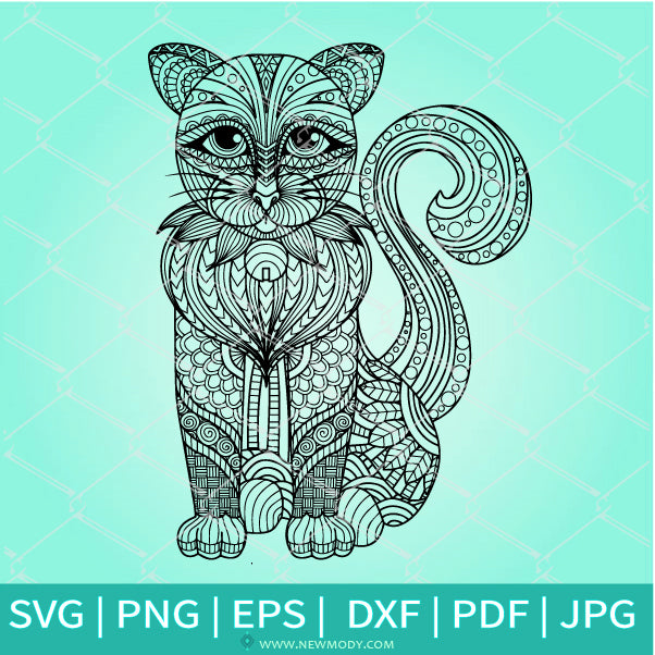 Mandala Cat SVG - Cute Cat SVG -Mandala SVG